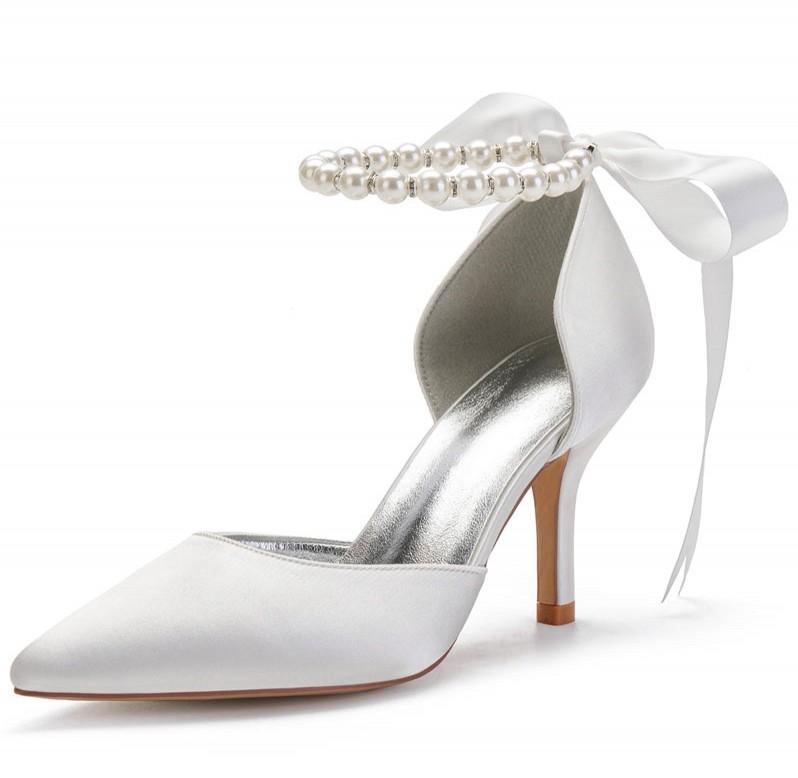 chaussure de mariée bout pointu à bride perlé embelli de noeud papillon