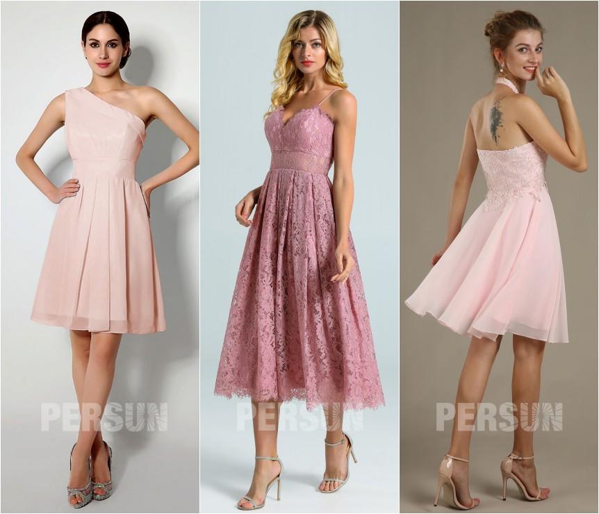 robe pour mariage invité courte rose