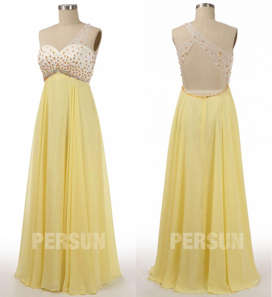 robe de soirée longue empire jaune asymétrique embelli de bijoux à dos transparent