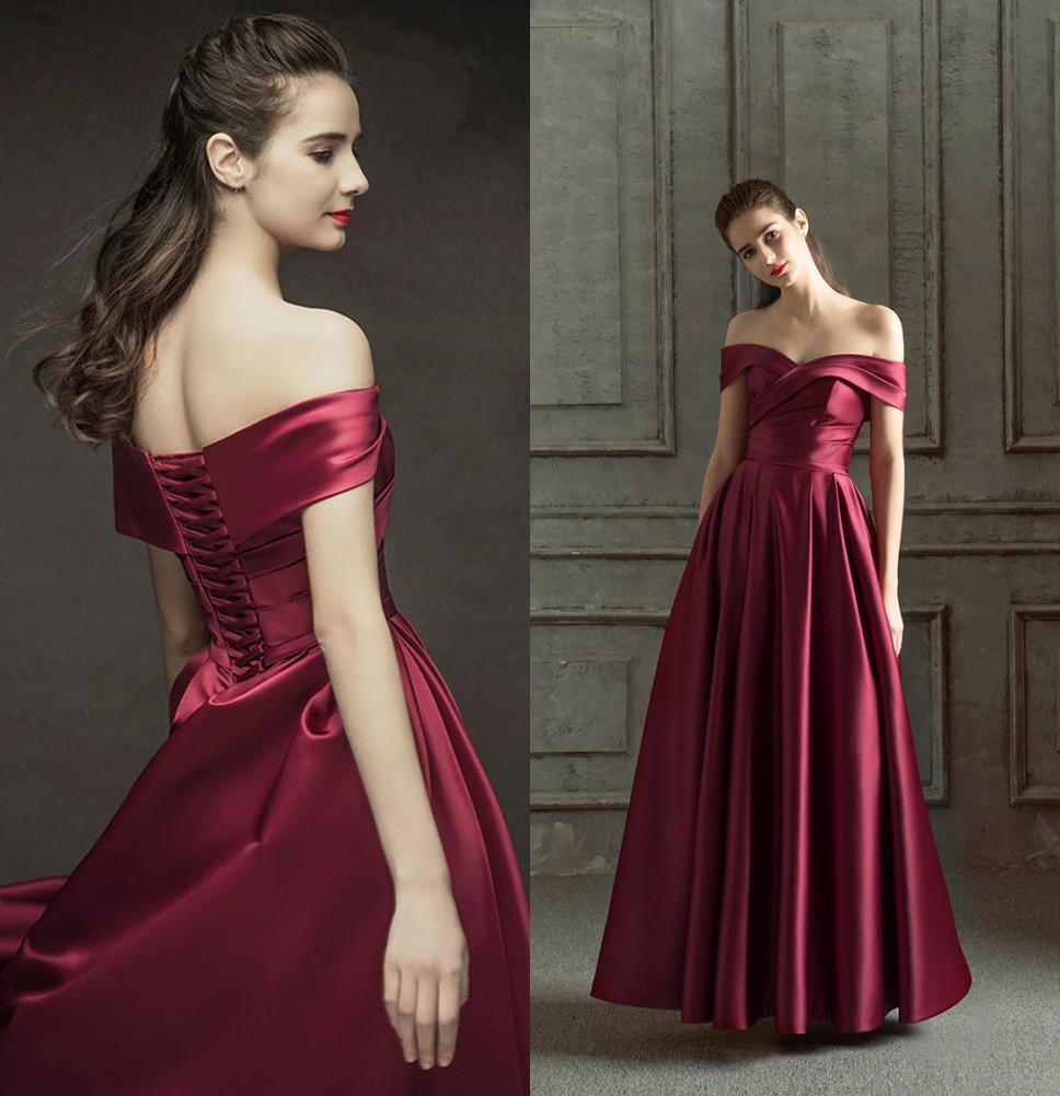 robe de soirée longue rubis rouge col bardot drapé