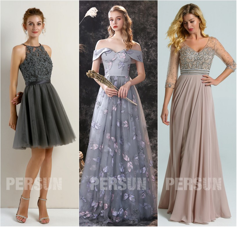 robe de soirée gris