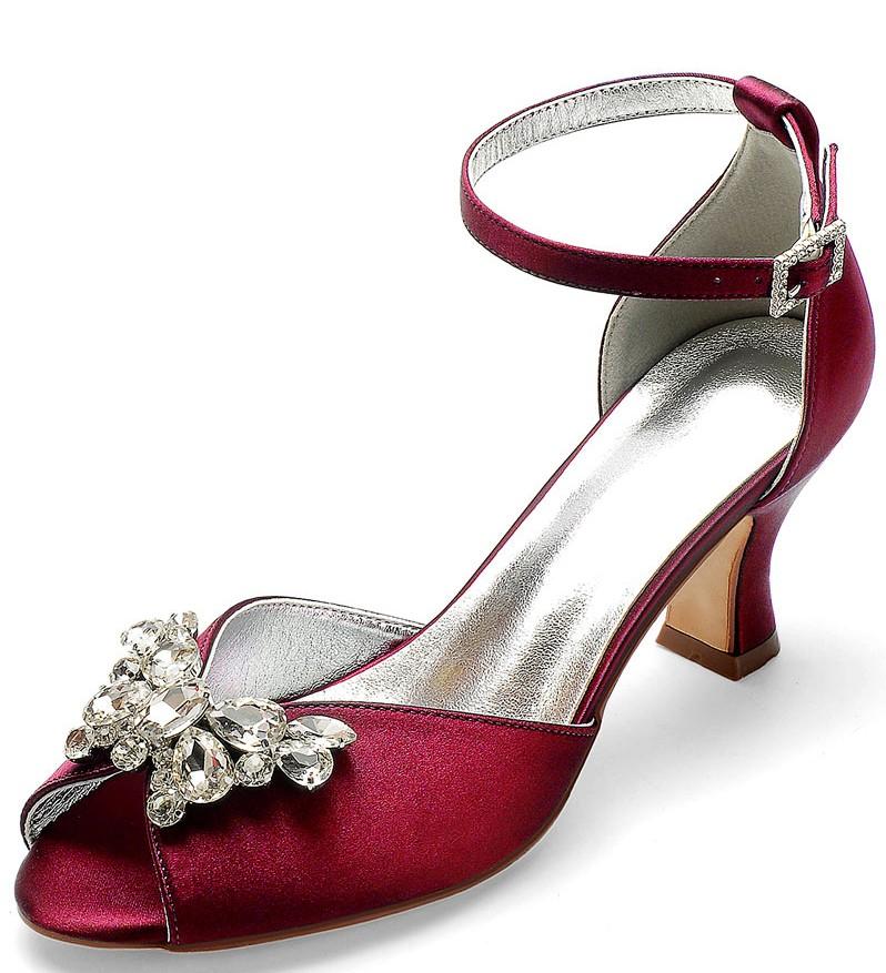 sandales bordeaux bout ouvert embelli de noeud de bijoux