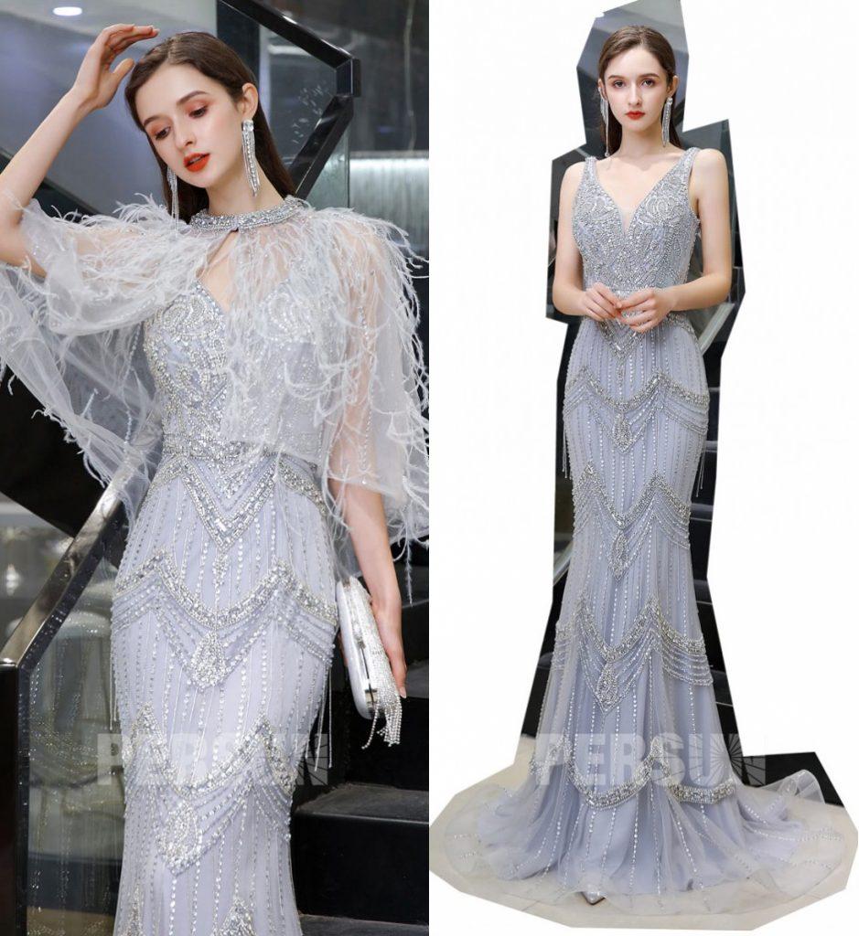 robe sirène lavande col v parsemé de strass avec cape plumé