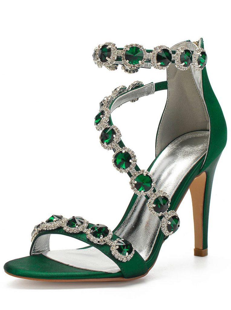 sandale vert de soirée à talon haut embelli de bijoux