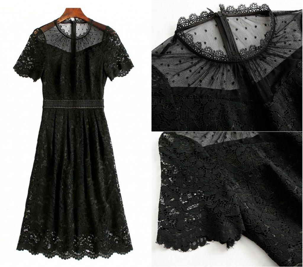 petite robe noire col illusion plumetis manches courtes dentelle