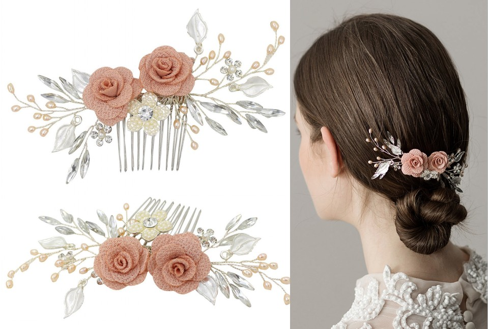 peigne de mariée embelli de fleurs rose et perles