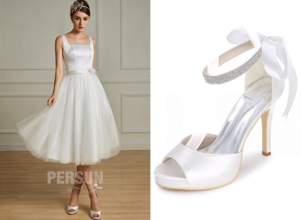 robe de mariée mi-longue col carré simple