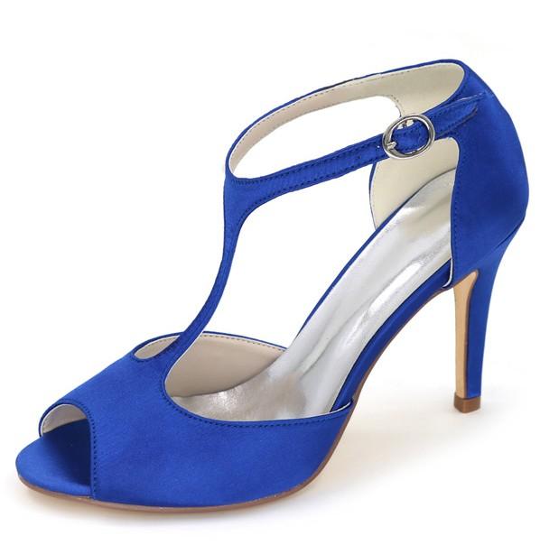 escarpins bleu talon haut style salomé