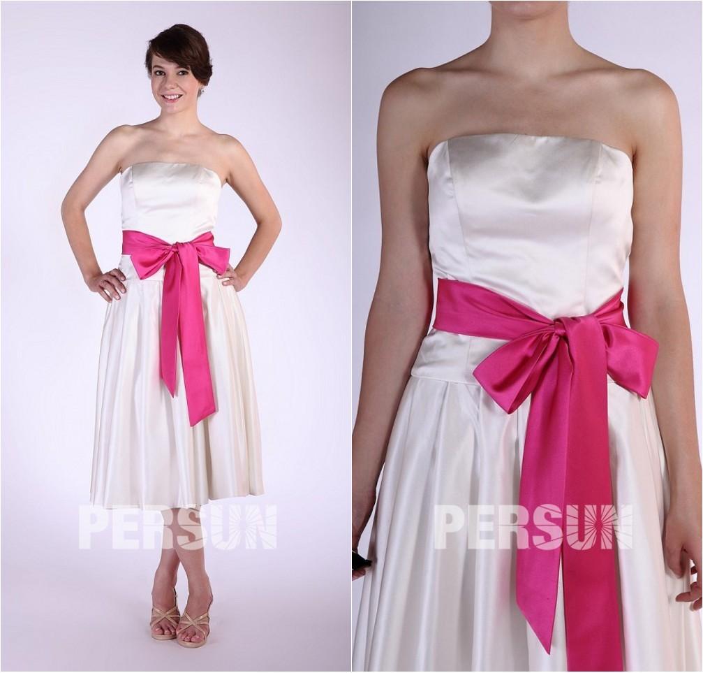 robe de cocktail mi-longue blanche