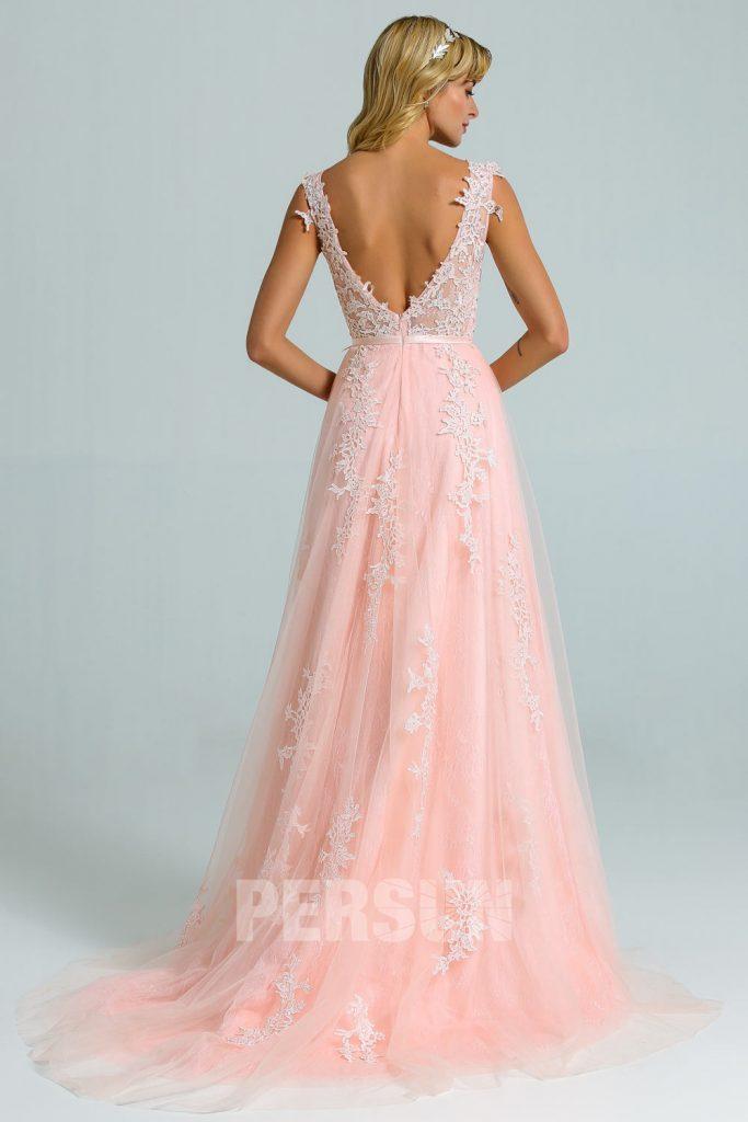 Robe rose longue dos nu dentelle pour mariage