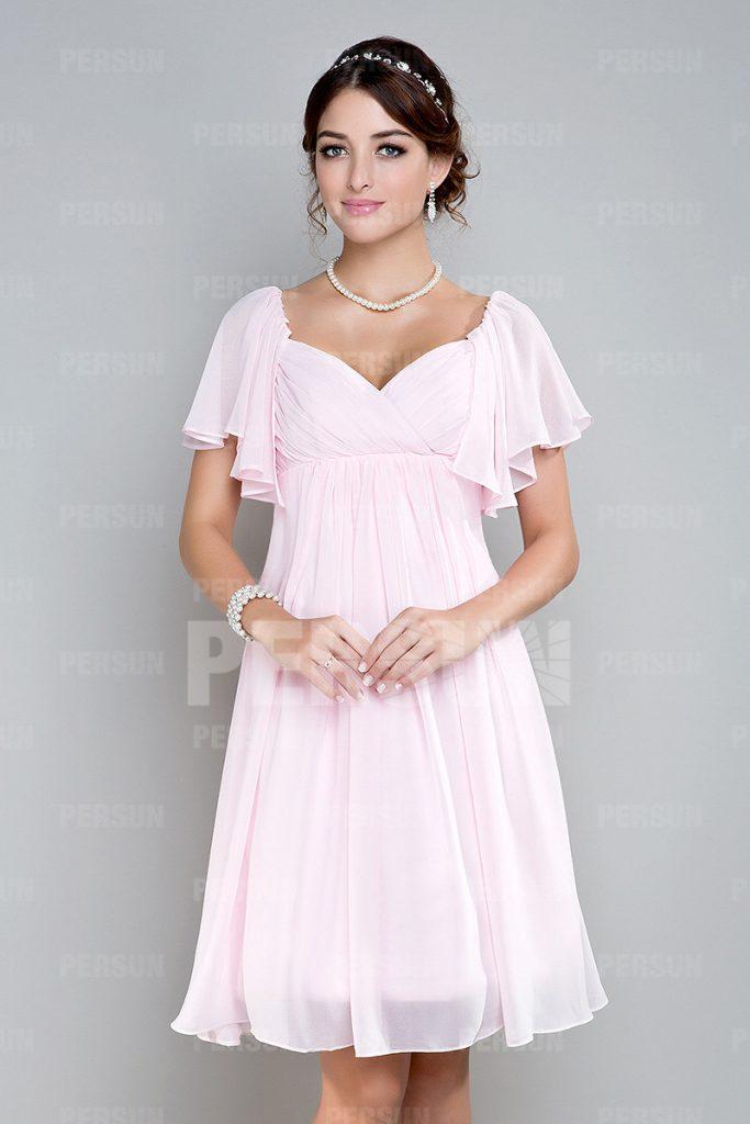 Robe rose courte empire mousseline pour un mariage