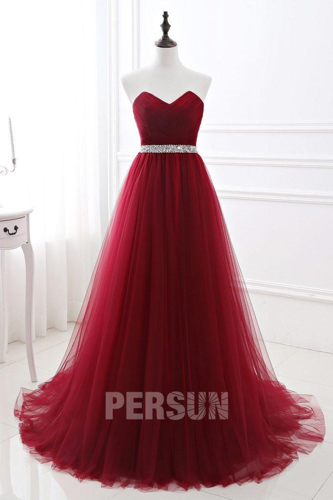 Robe de soirée longue rouge bustier coeur strass